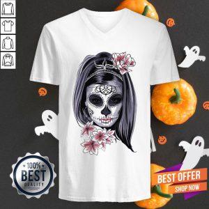 Candy Sugar Skull Girl Catrina Halloween V-neck